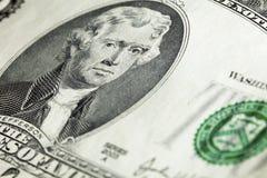 President Thomas Jefferson on two-dollar banknote. Closeup view of portrait of President Thomas Jefferson on two-dollar banknote Stock Photos