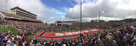 President Trump Graduation Speech at Liberty University. A panoramic view of commencement ceremony at the Liberty University football stadium, where President Stock Image