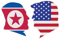 President Trump and Kim Jong Un Flag Silhouette vector. US President Donald Trump and Kim Jong Un silhouettes with United States America  and North Korea Flags Stock Image