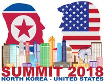 President Trump Kim Jong Un Singapore Summit 2018 Silhouet vector vector illustratie