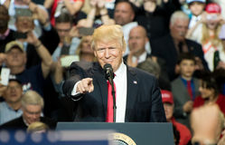 President Trump. Louisville, Kentucky – March 20, 2017: President Donald J. Trump addresses a crowd at a rally inside Freedom Hall in Louisville, Kentucky, on Stock Photography