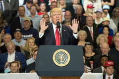 President Trump. Louisville, Kentucky – March 20, 2017: President Donald J. Trump addresses a crowd at a rally inside Freedom Hall in Louisville, Kentucky, on Stock Image