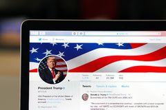 President Trump official twitter account page. Wuhan China, 2 December 2017: American president Donald Trump POTUS official twitter account website page on a Royalty Free Stock Photos