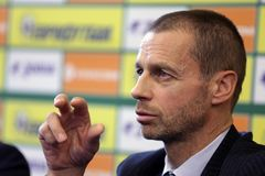 President of the UEFA Aleksander Ceferin. Sofia, Bulgaria - 11, December 2017: President of the UEFA Aleksander Ceferin talks to the media during a press Royalty Free Stock Photo