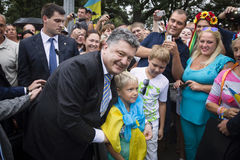 President of Ukraine Petro Poroshenko during the celebration of Royalty Free Stock Image