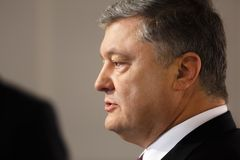 President of Ukraine Petro Poroshenko in Davos stock photos
