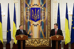 President of Ukraine Petro Poroshenko and European Commission Pr Royalty Free Stock Photos