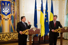 President of Ukraine Petro Poroshenko and European Commission Pr Stock Image