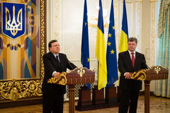 President of Ukraine Petro Poroshenko and European Commission Pr Royalty Free Stock Image