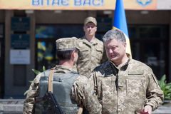 President of Ukraine Petro Poroshenko has awarded the soldier Stock Photo