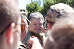 President of Ukraine Petro Poroshenko has awarded the soldier Royalty Free Stock Photos