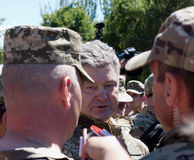 President of Ukraine Petro Poroshenko has awarded the soldier Stock Images