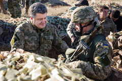 President of Ukraine Petro Poroshenko inspected the fortificatio Royalty Free Stock Image