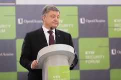 President of Ukraine Petro Poroshenko. KIEV, UKRAINE - Apr 06, 2017: President of Ukraine Petro Poroshenko during 10th Kyiv Security Forum `Old Conflicts and New Royalty Free Stock Photography