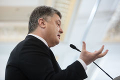 President of Ukraine Petro Poroshenko. KIEV, UKRAINE - Apr 06, 2017: President of Ukraine Petro Poroshenko during 10th Kyiv Security Forum `Old Conflicts and New Stock Photography