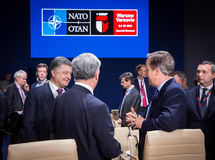President of Ukraine Petro Poroshenko at NATO summit in Poland. WARSAW, POLAND - Jul 9, 2016: President of Ukraine Petro Poroshenko on the sidelines of the North royalty free stock images