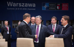 President of Ukraine Petro Poroshenko at NATO summit in Poland. WARSAW, POLAND - Jul 9, 2016: President of Ukraine Petro Poroshenko on the sidelines of the North stock images