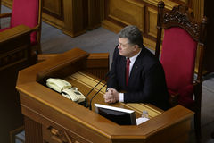 President of Ukraine Petro Poroshenko 27 November 2014. President of Ukraine Petro Poroshenko during the solemn meeting of the Parlament of Ukraine Royalty Free Stock Photos