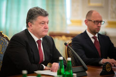 President of Ukraine Petro Poroshenko during the NSDC meeting Stock Images