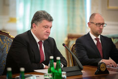 President of Ukraine Petro Poroshenko during the NSDC meeting Royalty Free Stock Images