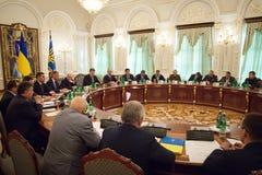President of Ukraine Petro Poroshenko during the NSDC meeting Stock Photography