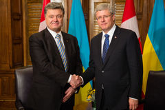 President of Ukraine Petro Poroshenko in Ottawa (Canada). OTTAWA, CANADA - Sep 17, 2014: President of Ukraine Petro Poroshenko during an official meeting with royalty free stock images