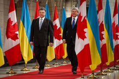 President of Ukraine Petro Poroshenko in Ottawa (Canada). OTTAWA, CANADA - Sep 17, 2014: President of Ukraine Petro Poroshenko during an official meeting with royalty free stock photography