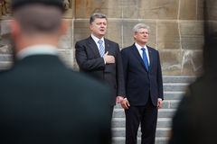 President of Ukraine Petro Poroshenko in Ottawa (Canada). OTTAWA, CANADA - Sep 17, 2014: President of Ukraine Petro Poroshenko during an official meeting with stock photo