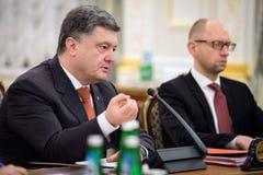 President of Ukraine Petro Poroshenko and Prime Minister Arseniy Royalty Free Stock Photos