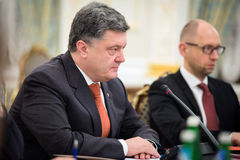 President of Ukraine Petro Poroshenko and Prime Minister Arseniy Stock Photography