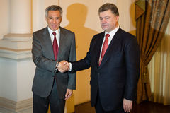 President of Ukraine Petro Poroshenko and Prime Minister of Sing Royalty Free Stock Photos