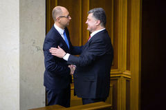 President of Ukraine Petro Poroshenko and Prime Minister Yatsen Stock Images