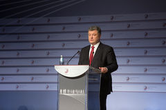 President of Ukraine Petro Poroshenko speaks at the summit of Stock Photo
