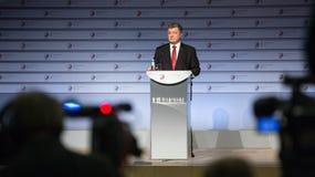 President of Ukraine Petro Poroshenko speaks at the summit of Stock Photography