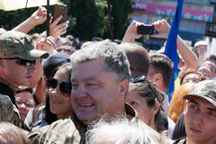 President of Ukraine Petro Poroshenko talks with people Stock Photos