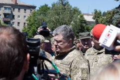 President of Ukraine Petro Poroshenko talks with people Stock Photography