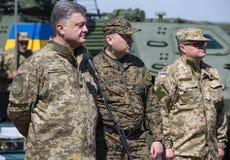 President of Ukraine Petro Poroshenko at the training center of Royalty Free Stock Photo