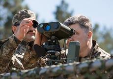 President of Ukraine Petro Poroshenko at the training center of Stock Images