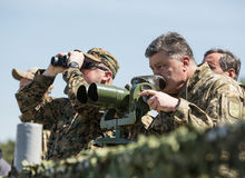 President of Ukraine Petro Poroshenko at the training center of Stock Photo