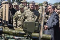 President of Ukraine Petro Poroshenko at the training center of Royalty Free Stock Images