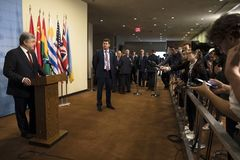 President of Ukraine Petro Poroshenko in UN General Assembly Royalty Free Stock Images