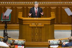 President of Ukraine Petro Poroshenko in Verkhovna Rada of Ukraine. KIEV, UKRAINE - Sep. 07, 2017: President of Ukraine Petro Poroshenko speaks with the annual royalty free stock photography