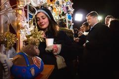 President of Ukraine Petro Poroshenko visited Christmas Fair in Royalty Free Stock Images