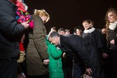 President of Ukraine Petro Poroshenko visited Christmas Fair in Royalty Free Stock Image