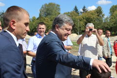 President of Ukraine Petro Poroshenko. Visited Lviv region Stock Images