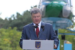 President of Ukraine Petro Poroshenko. Visited Lviv region Royalty Free Stock Images