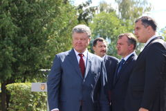 President of Ukraine Petro Poroshenko. Visited Lviv region. The photo Head of Lviv Regional State Administration Oleg Synyutka and head of the Lviv regional Stock Photo