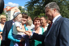 President of Ukraine Petro Poroshenko. Visited Lviv region. surrounded by children Royalty Free Stock Image