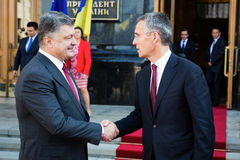 President of Ukraine Poroshenko and NATO Secretary General Jens Royalty Free Stock Photography