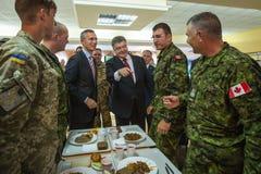 President of Ukraine Poroshenko and NATO Secretary General Jens Royalty Free Stock Images
